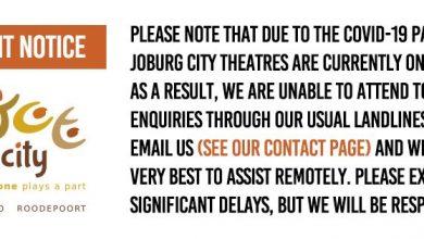 Photo of Joburg City Theatres suspends performances and programmes